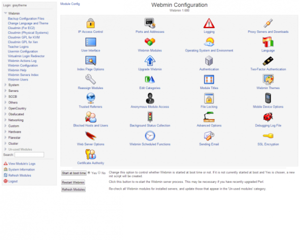 Webmin Interface